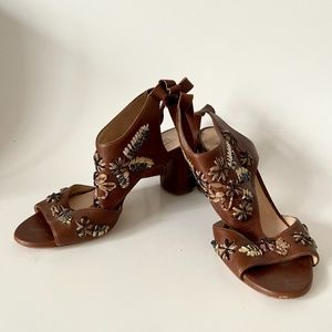 brown embroidered leather casadei sandals size 6